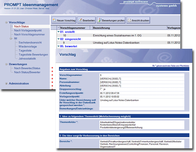 Screenshot Lotus Notes Datenbank PROMPT Verbesserungsmanagement