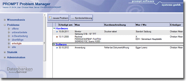 Lotus Notes Datenbank - PROMPT Problem Manager - Ansicht